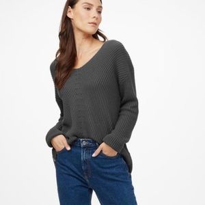 TENTREE Highline Cotton V-Neck Sweater Grey Small